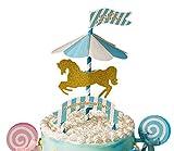Karussel Cake Toppers drehendes Pferd Cupcake Deko Happy Birthday Kuchendeko (Blau)