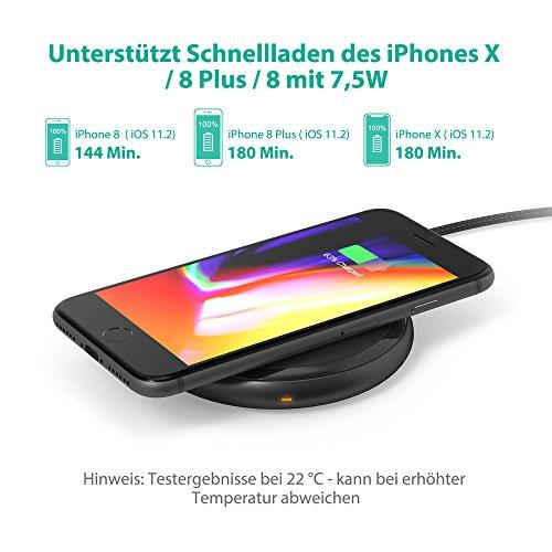 51518cxSuLL - [Amazon] RAVPower Qi kabelloses Ladegerät für iPhone X/8/8 Plus für nur 29,99€ statt 39,99€