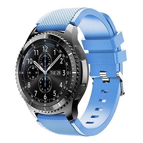 Uhrenarmband 22mm-Sanfte Silikon Armband in 5 Farben, Ersatz Uhrenarmband Armbänder Kompatibel Galaxy Watch Gear S3 Frontier, Unisex Kautschuk Armband mit Edelstahl Silber Schnalle (Hell Blau)