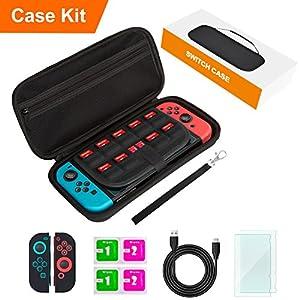 Switch Tasche für Nintendo Switch, Switch Zubehör, Inklusive Tragetasche, Displayschutzfolien, Hüllen, Ladekabel, Reinigungstücher, Papierbox, Handschlaufe, Hartschale, All-In-One Starter Set, Schwarz