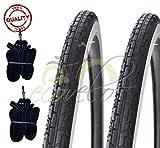 Deestone 2 COPERTONI BIANCONERO + 2 CAMERE d'Aria per Bicicletta Bici City Bike Trekking 700 X 35 28 1 5/8 3/8 (37-622)