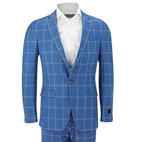 2pièces Vintage Grande fenêtre pour homme Blanc Carreaux fittedblue pour Smart Casual Blazer Pantalon pour homme - bleu - Poitrine 48, pantalon 81 cm