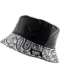 UNISEX BUCKET BUSH HAT BANDANA PAISLEY PRINT FLEECE LINED WATER RESISTANT in Black White Red