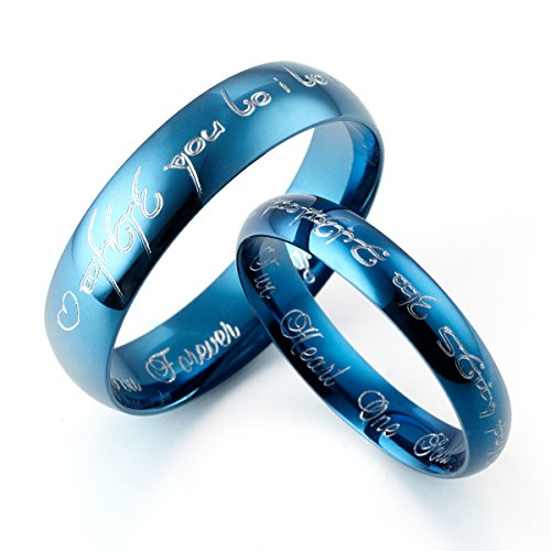 GEMINI - Größen 47 bis 76, Individuelle Herr der Ringe & Ihn Titan poliert gewölbt Blau Ring Ehering Verlobungsring Couple