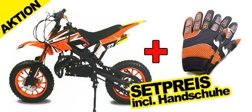 "Dirtbike Apollo 49cc 10"" Crossbike Pocket Minicross Motorcross Orange"