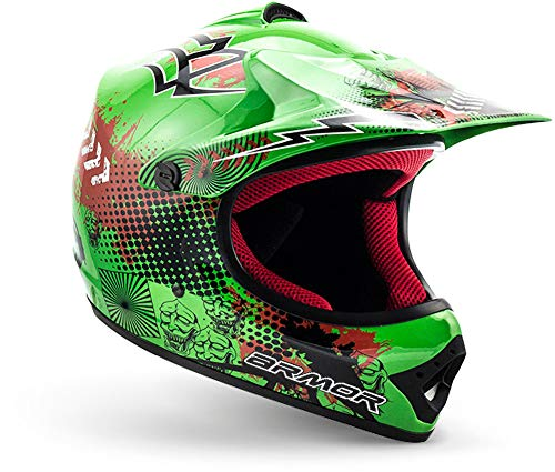 "ARMOR HELMETS® AKC-49 ""Green"" · Kinder-Cross-Helm · Motorrad-Helm MX Cross-Helm MTB BMX Cross-Bike Downhill Off-Road Enduro-Helm Moto-Cross Sport Pocket-Bike · DOT Schnellverschluss Tasche S (53-54cm)"