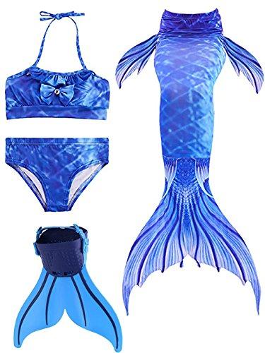 rjungfrauen Bikini Kostüm mit Meerjungfrau Flosse Prinzessin Badebekleidung Cosplay Kostüm Meerjungfrauenschwanz für Schwimmen ()