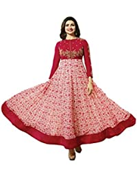 Ethnic Wings Women Georgette Anarkali Semi-Stitched Salwar Suit (EW& ET_ER10219_Red_Free Size)