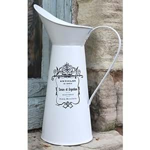 Français Country Style Pichet Pichet en métal ou en étain Blanc Fleur Vase ~ Shabby Chic.