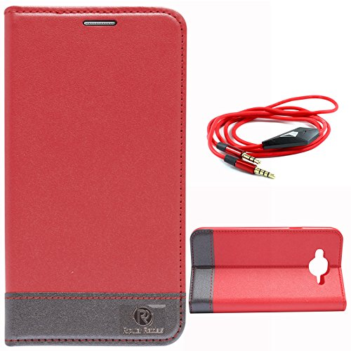 DMG PopularRaiders Premium Magnetic Wallet Flip Cover Stand Case for Samsung Galaxy J5 J500 (Red) + 3.5mm Flat AUX Cable with Mic
