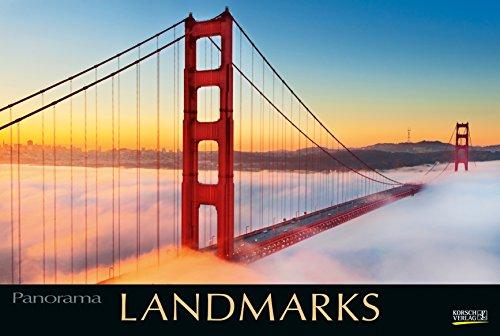 Landmarks 2019: Großer Foto-Wandkalender mit Bildern von Wahrzeichen der Welt. Edler schwarzer Hintergrund und Foliendeckblatt. PhotoArt Panorama Querformat: 58x39 cm.