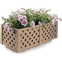 T4U Caja de Cultivo de Plantas Plastico Rectángulo, Marrón Claro Macetas Plantas de Jardín Resina