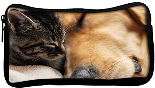 Snoogg Dog And Cat Sleeping Poly Canvas Student Pen Pencil Case Coin Purse Utility Pouch Cosmetic Makeup Bag  available at amazon for Rs.225