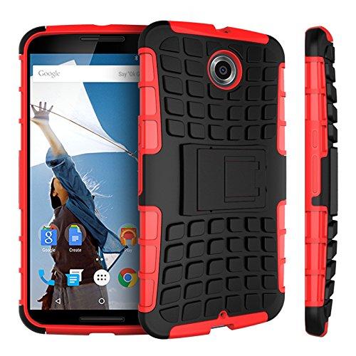 Motorola Nexus 6 Kasten, CaseFirst Reifenstreifen Hybrid Combo Shockproof Rüstung Robuste Dual Layer Case Cover mit Kickstand für Motorola Nexus 6 (Rot)