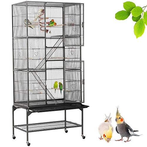 Popamazing - Grande voliera staccabile per uccelli, canarini, pappagalli africani, Pappagalli Cockatiels africani grigi, posatoi aperti sulla parte superiore, gabbia con supporto
