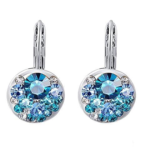 Femmes Mode Boucles D'oreilles En Strass Clip Oreille Bijoux - Bleu