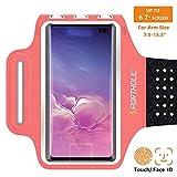 Handy Schweißfest Sportarmband für iPhone 11 Pro XR XS Max, 8/7 Plus, Samsung S10 S9 S8 S7 +Edge,Note 9/8/7,Huawei P20 lite,Xiaomi,LG- Premium Lycra, Mit Kabelfach/Kartenhalter(rosa)