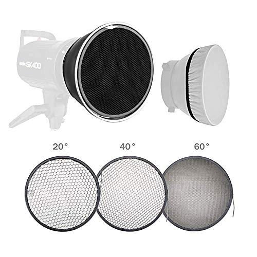 Neewer Standardreflektor 7 Zoll/18cm weicher Diffusor mit 20/40/60 Grad Wabengitter für Bowens Montage Studio Blitzlicht Monolight -