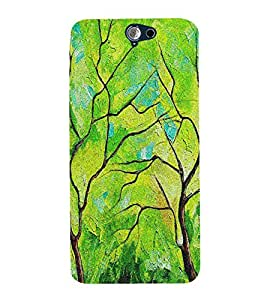 Fiobs Designer Phone Back Case Cover HTC One A9 ( Retro Green Oil Paint Look )