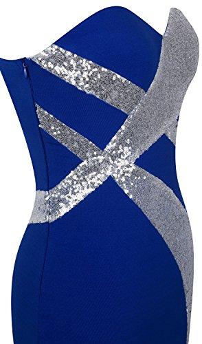 Angel-fashions Damen Traegerlos Schatz Kreuz und quer Klassisch Schwarz-Weiss Abendkleid Blau