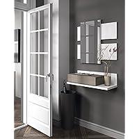 HABITMOBEL Recibidor 1c + Espejo Blanco y Fresno 75 x 116 x 29 cm
