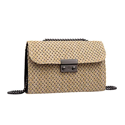 Mitlfuny handbemalte Ledertasche, Schultertasche, Geschenk, Handgefertigte Tasche,Fashion Wild Retro Umhängetasche Messenger Chain Small Square Bag Woven ()