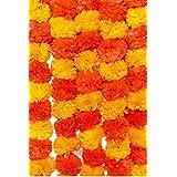 Phool Mala Pooja Flowers for Decoration (Orange Yellow) - Pack of 5