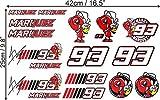 Marc Marquez 93 Aufkleber Set (17 Aufkleber) Motogp Weltmeister Motorradrennen Motosport Sticker Decal Autocollants Pegatinas / Plus Schlüsselringanhänger aus Kokosnuss-Schale / Auto Motorrad Bike Assen Mugello Le Mans Helm