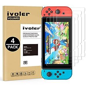 ivoler [4 Stücke] Panzerglas Schutzfolie für Nintendo Switch, [9H Härte] [Anti- Kratzer] [Bläschenfrei] [2.5D Runde Kante]