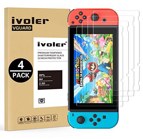 Ivoler [4 pack] pellicola vetro temperato per nintendo switch [garanzia a vita], pellicola protettiva protezione per schermo per nintendo switch