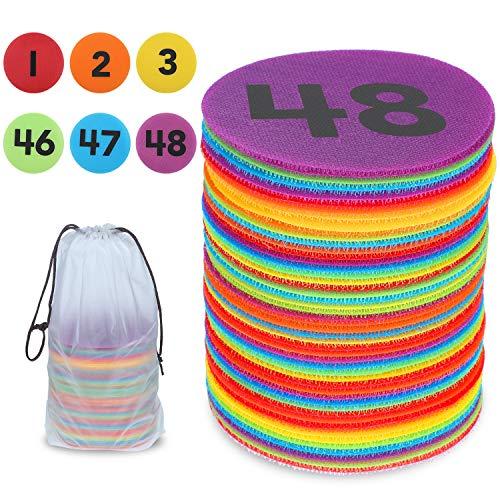 Outus 48 Stücke Punkte Marker Klassenzimmer Teppich Dots Marker Kreis Marker mit Nummern 1-48, Boden Dots Marker für Kinder Studenten, 4 Zoll, 6 Farben (Lernen Teppiche Für Kinder)