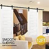 Popamazing 12FT/366cm Retro Sliding Wood Barn Door Hardware Kit Closet Sliding Track Roller Hangers for Double Doors