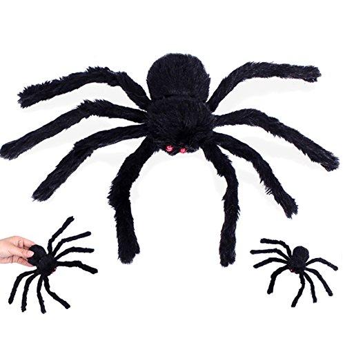 lulalula Halloween Dekoration Spider Plüsch Spider rot Eye Spider Web für Party Horror Decor Requisiten, Faser, schwarz, (Schwarze Spinne Behaarte)