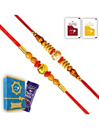Maalpani Handcrafted Multicolour Small 2 Bead Rakhi Set with Chocolate