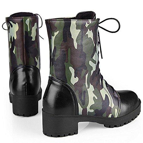 TAOFFEN Damen Mode Bunte Blockabsatz Knöchel Schnürung Combat Stiefel Grün