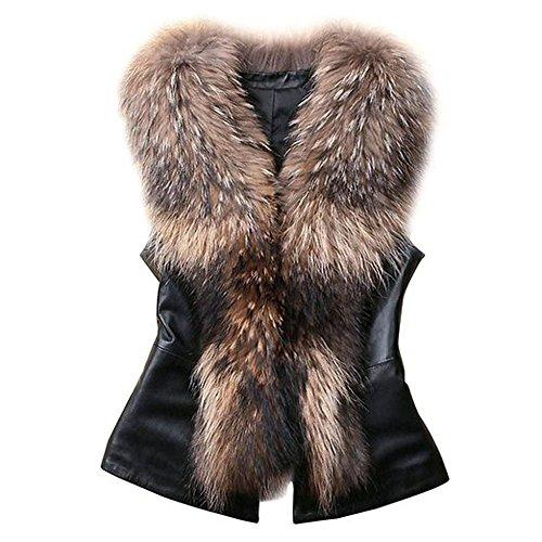 Vlunt Chaleco para mujer, de piel sintética, Chaleco de pelo largo, Chaleco Sin Mangas, Chaqueta para exterior, Chaleco marrón marrón L