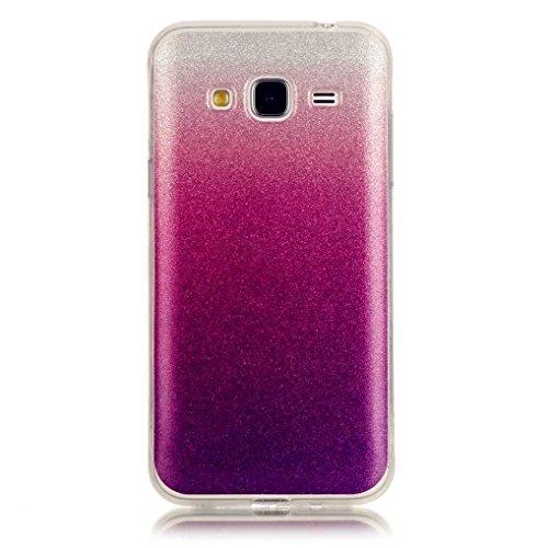 KSHOP Etui pour iphone 6/iphone 6s (4.7) Case Cover TPU en Souple Silicone Ultra Mince Shock Absorption Coque Transparente Bumper Modif Peint - frites Pourpre et Rouge