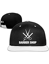 nuohaoshangmao Barber Shop Men s Adjustable Snapback Hip Hop Outdoor Sport  Trucker Cap Hats Flat Brim White b6fe20462767