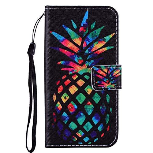 Edaroo Handytasche für iPhone 5S, PU Leder Flip Tasche Handy Schutzhülle Handyhülle mit Magnetverschluss Ständer Funktion Brieftasche Coole Bunte Ananas Schwarz Klapphülle für iPhone 5/5S & SE