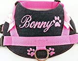 Hundegeschirr S M L XL XXL Brustgeschirr bestickt Jeans Rosa für kleine, mittelgroße und große Hunde