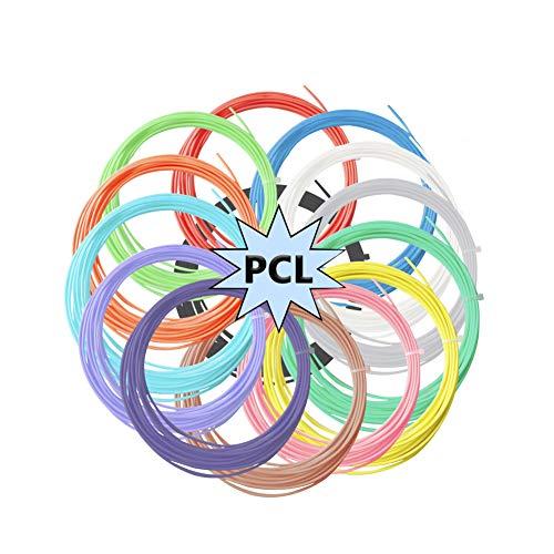 3D Penna Filamento Ricarica PCL - 14 Colori 230 Piedi Lineari 70M per Bassa Temperatura 3D Scarabocchio Penna, 1.75mm, 16.5 Piedi (5M) Ogni Colore Bassa Temperatura 70-100 ℃ Nessun Odore