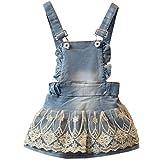 Baby-Mädchen Kleid Tutu Rock Denim-Kleid mit Trägern Prinzessin Jeanskleid Mini Latzkleid 18-24 Monate