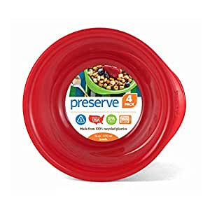 Preserve Everyday 16 Ounce Bowls, Set of 4, Pepper Red by Preserve