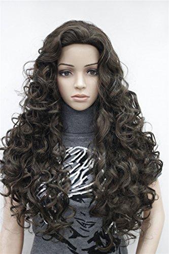 Kalyss Damen Braun Langes Haar lockiges wellenförmiges volles Kopf Perücken Cosplay Kostüm Partei Haarteil (Volle Curly Damen Perücke)