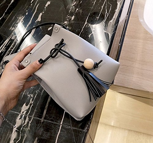 QPALZM 2017 Frau Fashion Drawstring Quaste Schulter Individualität Skew Tight Handtasche Grey