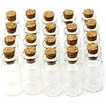 20X Nuevo Pequeño Botella de Cristal Frasco de Vidrio Borosilicato con Tapones de Corcho