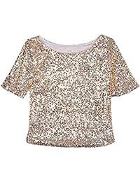 75705770a1a8 Sfit Damen Sommer Mode Blingeling Glitzer Pailletten T-Shirt Beiläufige  Casual Kurzarm Loose Rundhals Bluse…