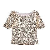 Sfit Damen Sommer Mode Blingeling Glitzer Pailletten T-Shirt beiläufige Casual Kurzarm Loose Rundhals Bluse Oberteile