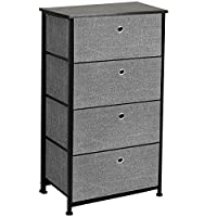 Gr8 Home Wooden Metal Frame Black Grey 4 Tier Storage Dresser Unit Cabinet Cupboard Drawers Set Rack Organiser Closet Hallway Chest