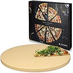 Navaris Pierre à Pizza pour Four XXL - Plaque de Cuisson Pâtisserie Pain Tarte Flambée - Pierre Pizza Ronde Barbecue Grill - en Cordiérite